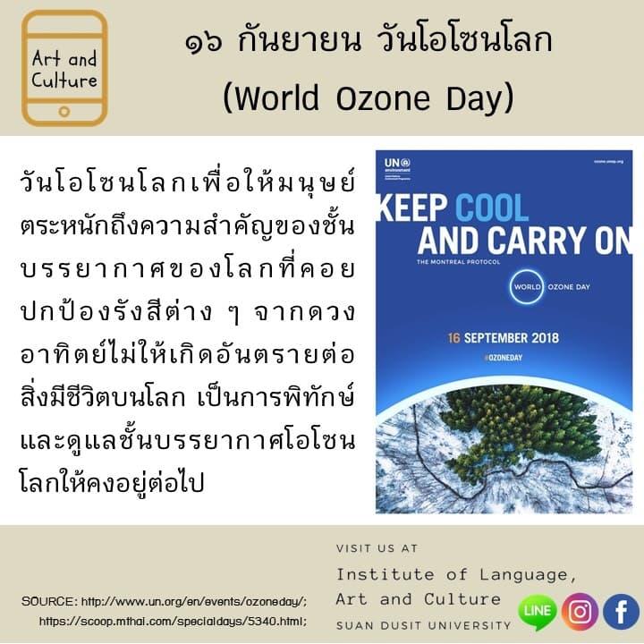 16 กันยา วันโอโซนโลก (World Ozone Day)